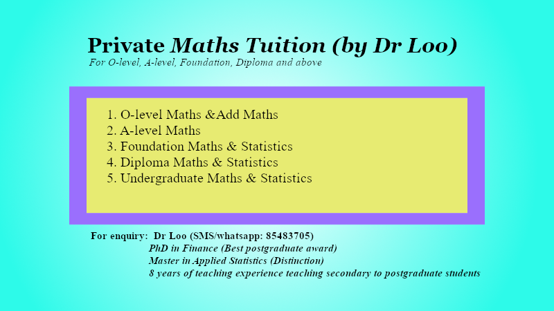 A-level H1 & H2 Maths Private Tuition Singapore