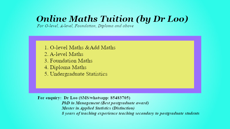 Online Secondary Math Tuition for Singapopre O-level Maths