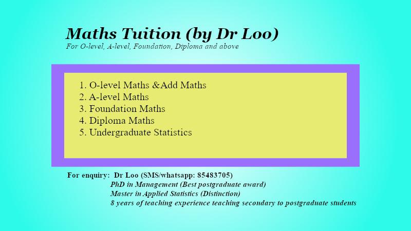 Secondary Math & JC H2 Maths Tutoring Singapore